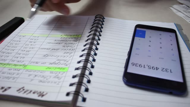 Checking receipts. Budget and expense tracking video