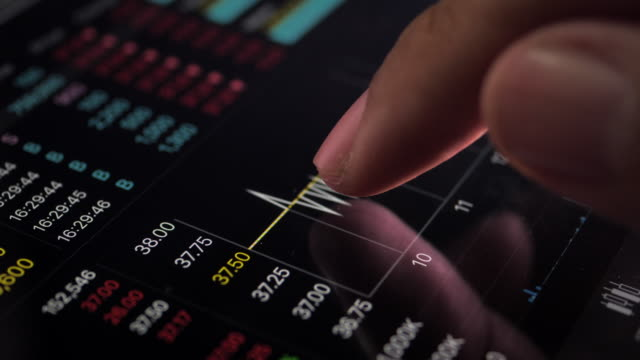 Checking Stock Market Index on digital tablet, Close up video