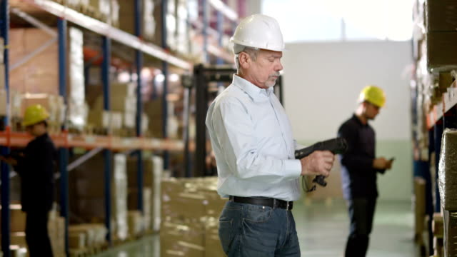 Checking The Inventory In A Warehouse video