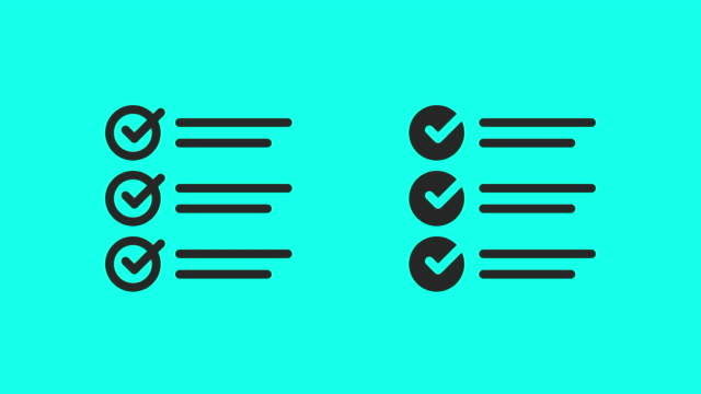 Checklist Icons - Vector Animate Checklist Icons Vector Animate 4K on Green Screen. clip art stock videos & royalty-free footage
