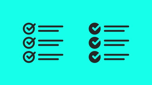 Checklist Icons - Vector Animate Checklist Icons Vector Animate 4K on Green Screen. survey icon stock videos & royalty-free footage