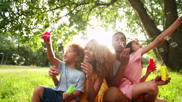 vídeos de stock e filmes b-roll de afro-americano família alegre união e assoar bolhas no parque. - afro americano