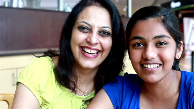 Cheerful Asian Indian Mother and Daughter video