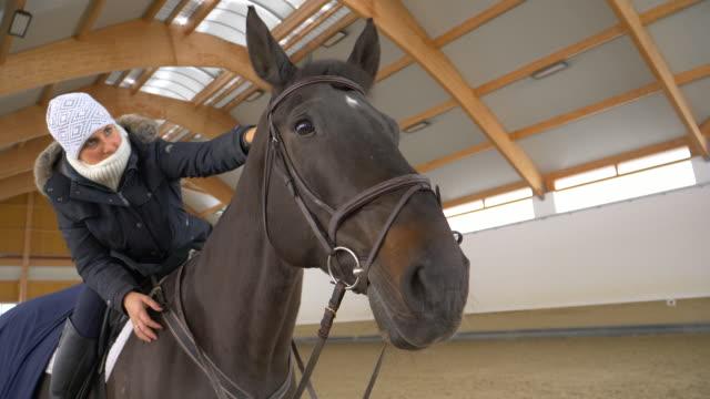 close up fröhlich kaukasischen frau sitzen und die schöne braune pferd streicheln - halle gebäude stock-videos und b-roll-filmmaterial
