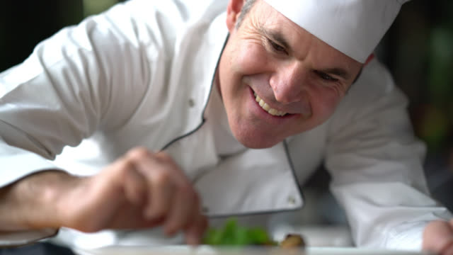 cheerful chef decorating a plate looking very happy - ornato video stock e b–roll