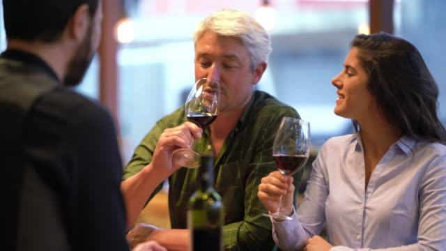 Cheerful couple at a wine tasting trying red wine and talking to the wine steward all looking happy Cheerful couple at a wine tasting trying red wine and talking to the wine steward all looking happy and smiling winetasting stock videos & royalty-free footage