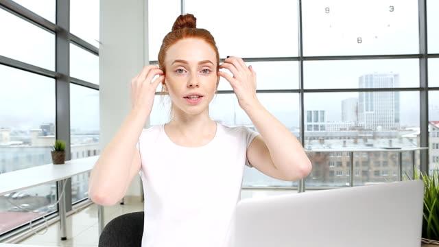Cheerful female blogger recording video video