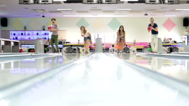 HD: Cheerful Friends Bowling Together. video