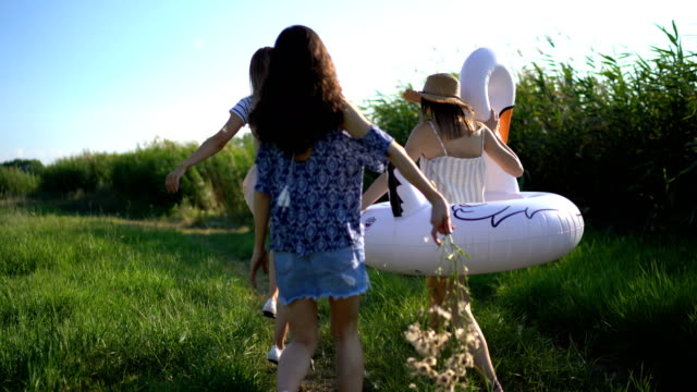 cheerful friends enjoying summer day together - amicizia tra donne video stock e b–roll