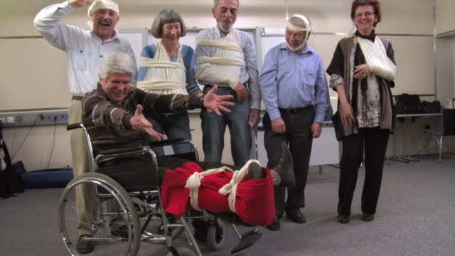 HD: Cheerful Group Of Injured Seniors video