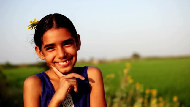 cheerful little girl portrait in the nature - haryana video stock e b–roll