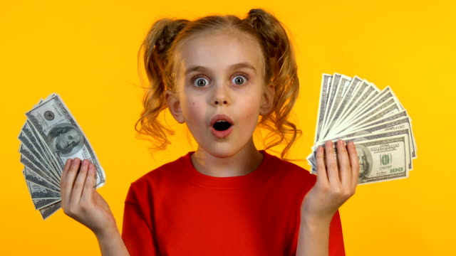 Cheerful little girl showing dollar bunches at camera and smiling, first income
