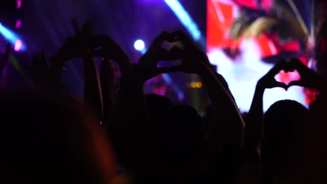 Cheerful people crowd making heart by hands at concert