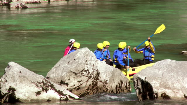 HD: Cheerful Rafters Jumping Into River video