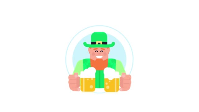 a cheerful red-haired irishman with glasses of beer offers a mug of beer in a blue mug on a white background. - happy hour video stock e b–roll