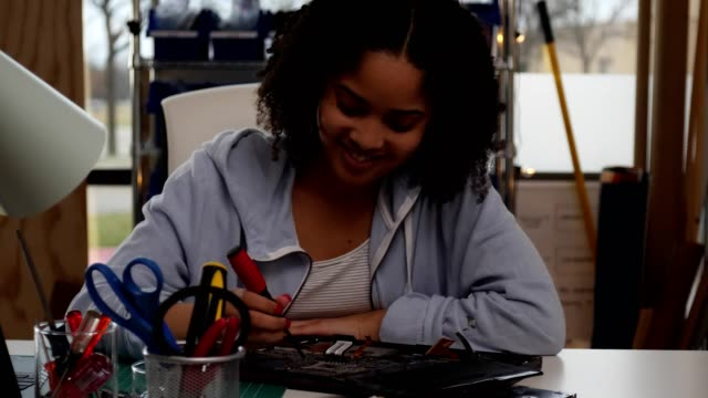 Cheerful teenage girl assembles a mother board Confident mixed race teenage girl assembles or disassembles a mother board. She smiles confidently while using a screwdriver on the panel. mixed race person stock videos & royalty-free footage