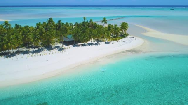 vídeos de stock, filmes e b-roll de zangão: a menina alegre do turista corre no oceano de cor turquesa de tirar o fôlego. - férias na praia
