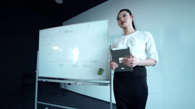 Cheerful woman presenting the diagram video
