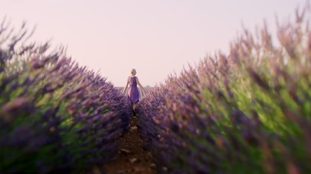 WS Cheerful woman walking in a lavender field