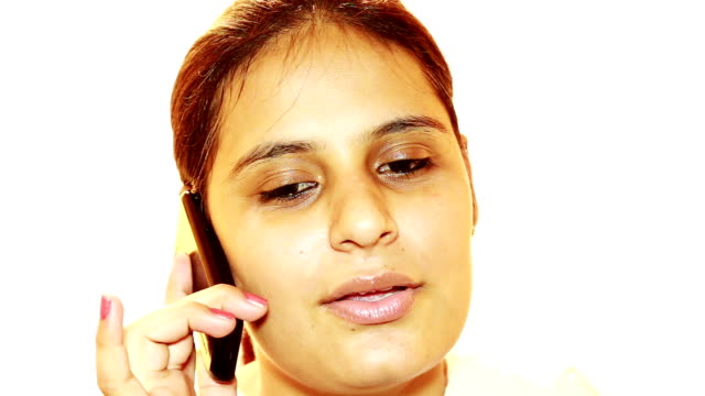Cheerful women talking on mobile phone video