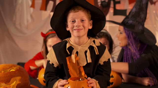 HD DOLLY: Cheerful Young Boy Dressed As Scarecrow video