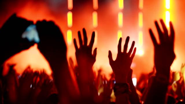 jublande folkmassa vid en konsert. - nattliv bildbanksvideor och videomaterial från bakom kulisserna