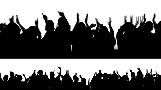 "Cheering Crowd Silhouettes 1 Available in HD, NTSC, and PAL. 2 options (small and large) of a cheering row of people. Easily crop or mask out the one you don't need. I'd recommend the ""Darken"" blending mode on this clip to composite the silhouette (without the white) into your project silhouette people stock videos & royalty-free footage"