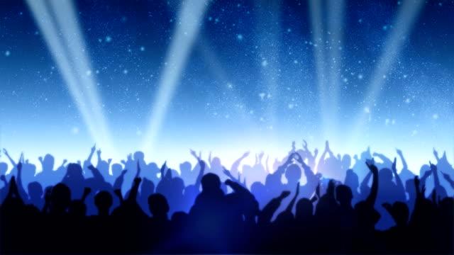 Cheering Crowd Under Stars video