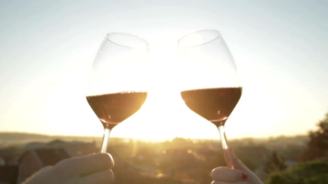 Cheers! Love couple making a toast, drinking red wine at sunset. red wine stock videos & royalty-free footage