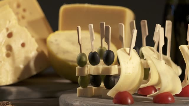 Cheese and wine tasting. Different types of cheese video