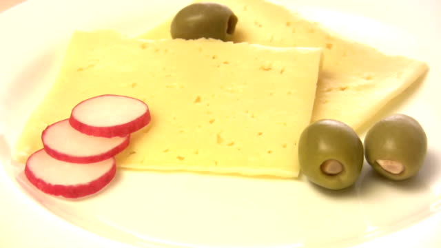 HD: Cheese with olives and radishes video