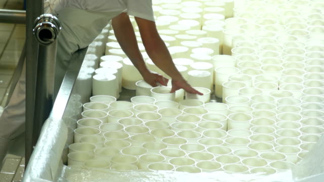 Cheesemaker Turning The Ricotta Moulds video