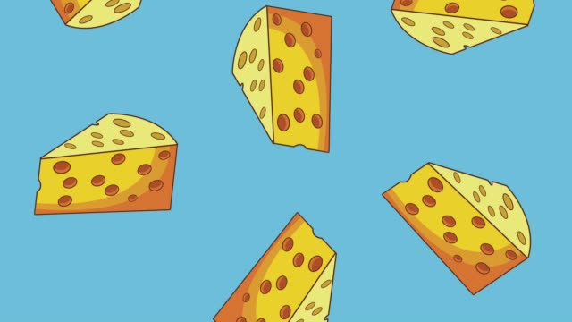 Cheeses falling background HD animation Cheeses falling over blue background High definition colorful scenes animation cheese stock videos & royalty-free footage