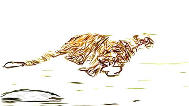 Gepard mit Bleistift zeichnen Cartoon Animation nahtlosen Endlosschleife neue Qualität einzigartige handgemachte dynamische fröhlich bunten video Tiere Katze Aufnahmen – Video