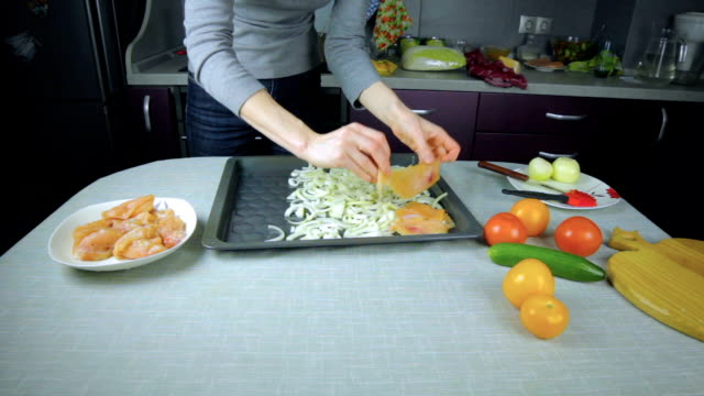 Chef arranges raw chicken on a baking sheet video