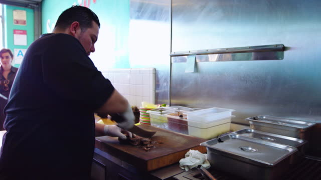 Chef Chopping Meat in Mexican Restaurant video