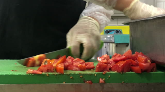 Chef Chopping Vegetables On Cutting Board Chef Chopping Vegetables On Cutting Board tomato salad stock videos & royalty-free footage