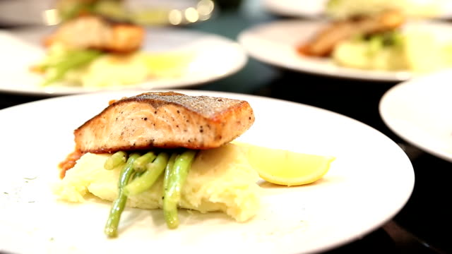 HD: Chef Cooking Gourmet Salmon Steak Entree video