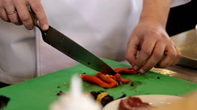 Chef cuts red pepper video