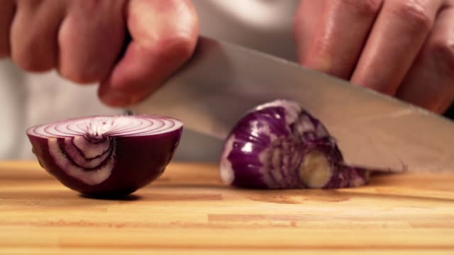 Chef cutting onion Chef cutting onion red onions stock videos & royalty-free footage