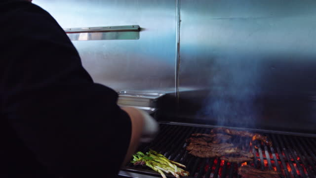Chef Grilling Meat in Mexican Restaurant video