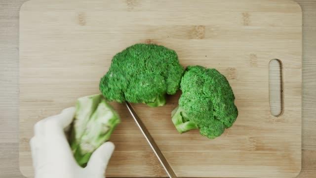 vídeos de stock e filmes b-roll de chef in white gloves cutting broccoli for cooking stir fry broccoli concept. - brócolo