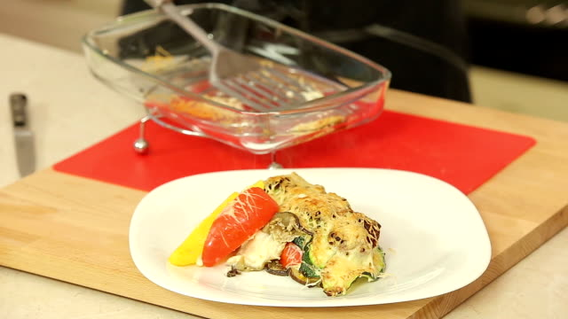 Chef is cooking vegetable lasagna video
