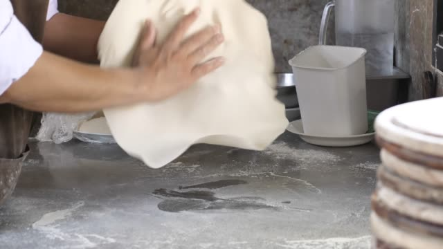 chef making pizza dough - impasto video stock e b–roll