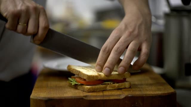 Chef preparing sandwich video