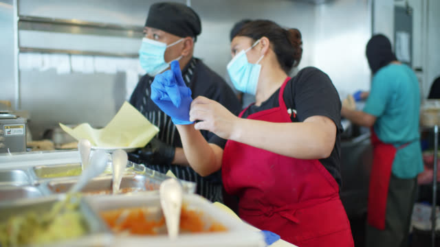 Chef Putting on Gloves at Work During Covid-19 Lockdown