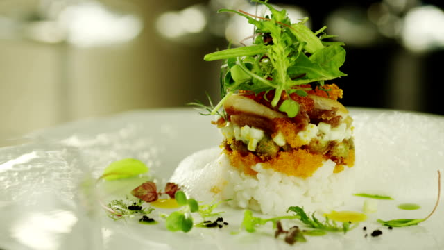 Chef Serving Delicious Seafood Salad in Luxury Restaurant. video