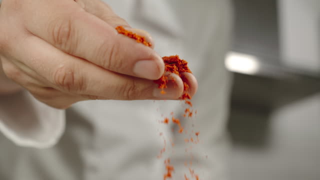 vídeos de stock e filmes b-roll de slow motion: chef sprinkles red pepper powder while cooking - pimentão
