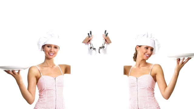 chef woman showing indicates billboard with cutlery dish video
