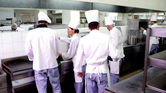 Chefs at work in a busy kitchen Chefs at work in a busy kitchen in a commercial kitchen commercial kitchen stock videos & royalty-free footage
